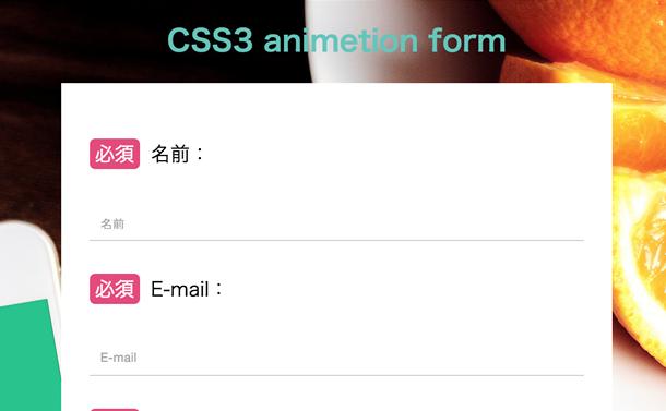 CSS3アニメーションフォーム