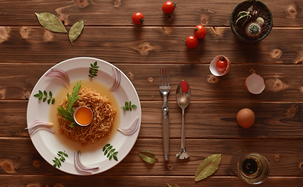 チキンラーメンは撮り方のアレンジ次第で、オシャレな料理写真に!